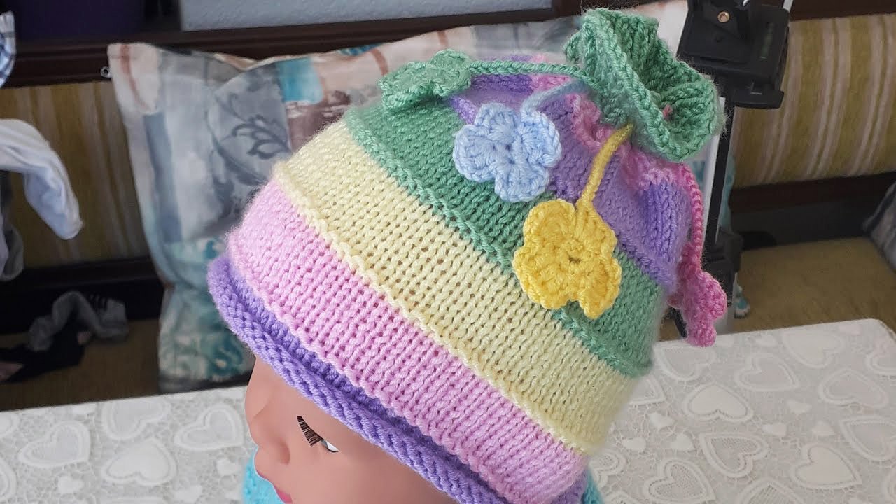 Knit Colored Beret Making 1 year old